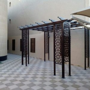 تركيب برجولات حدائق بجدة – مظلات جلسات الاسطح- برجولات حديد شكل خشب